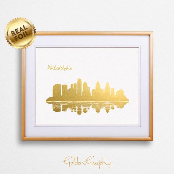 Philadelphia City Skyline Gold Print Real Gold Foil Print