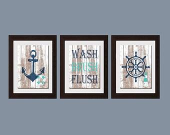 Attrayant Wash Brush Flush, Beach Decor, Nautical Bathroom Decor, Nautical Decor,  Cottage Home