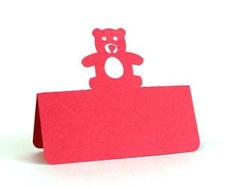 Teddy Bear Place Cards, baby shower, escort cards, baby party, baptism, baptism lunch