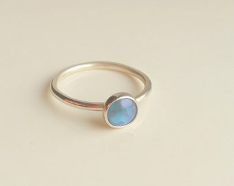 Sky Blue Glass Sterling Silver Stacking Stackable Ring Band