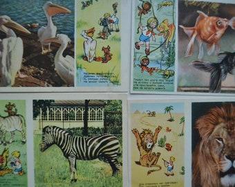 Lot of 7 Soviet vintage fauna postcards, Fish, Lion, Tiger, Zebra, Nursery decor, Children's postcards, USSR postcards, Printed in USSR