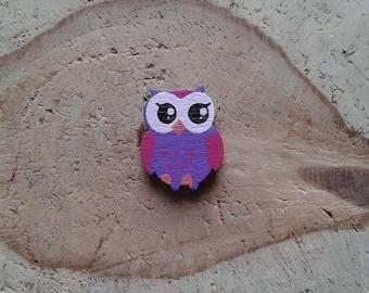 Purple OWL wood beads