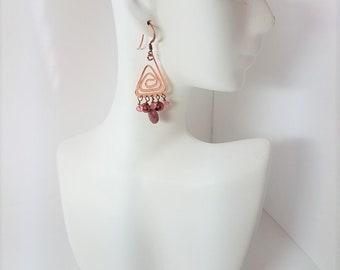 Earrings Rhodonite & Bright Copper