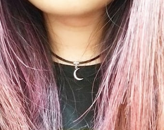Moon Choker Necklace Black Necklace Choker Necklace