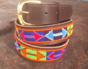 Leather beaded belt, Beaded belt, Leather belt, Handmade belt, Leather belt, Brass buckle belt, Gift for him, Boho belt,Maasai belt,