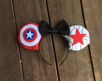 Captain America and Winter Soldier Inspired Ears