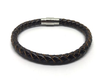 Leather bracelet 6mm round with magnetic clasp