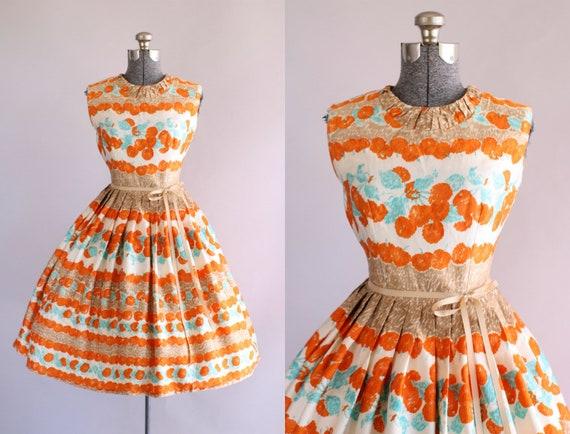 Jahrgang 1950 Kleid / 50er Jahre Nylon Kleid / Rot Türkis und