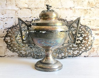 Antique Forbes Silver Co. Art Nouveau Engraved Filigree Tray and Middletown Plate Co. Serving Dish with Lid