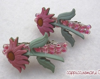 HAIR WEAR - Pink Flowers Beaded Barrettes - Hair Clips for Girls - SALE