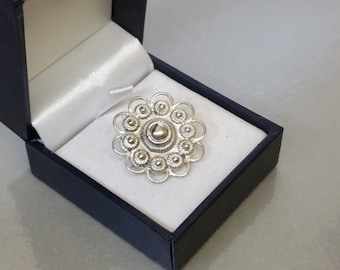 Old costume jewelry brooch 800 silver SB299