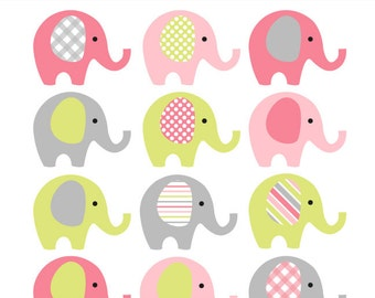 Pink Lime Grey Elephant Clip Art   INSTANT DOWNLOAD   Baby Girl Baby Shower  Clipart Elephants   Pink And Green