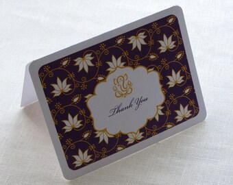 Indian Ganesh Thank You Card - Lotus Floral Elegant Personalized Note Card Gift Set of 10
