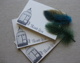 6 Handmade vintage birdcage blank thank you notecard set
