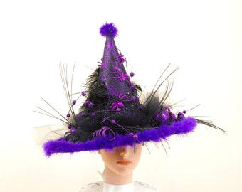 Black and Purple Witch Hat, Elegant Witch Hat, Witch Costume, Halloween Costume, Wicked Witch, Witch Decor, Purple Witch Hat