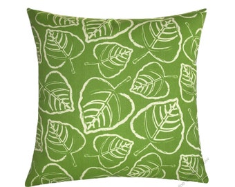 """Green and Ivory Leaf Indoor / Outdoor Decorative Throw Pillow Cover / Pillow Case / Cushion Cover / 18x18"""""""