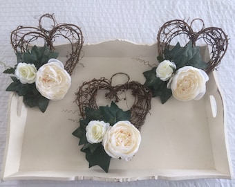 Artificial wicker rustic heart church pew ends x1 or ceremony decor with ivory peonies & roses ivy greeney and pearl pins...