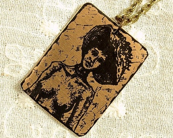 Shanel Necklace - Etched Fused Glass on Bronze Jewelry