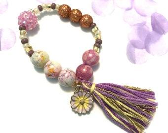 Spring Chrysanthemum Charm Bracelet - spring outfit, flower charm, flower jewelry,  beaded bracelet, pale yellow bracelet, toddler jewelry