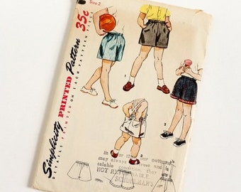 """SALE Vintage 1950s Boys Size 2 Shorts Simplicity 4726 Sewing Pattern Complete, w20"""", Suspender Option"""