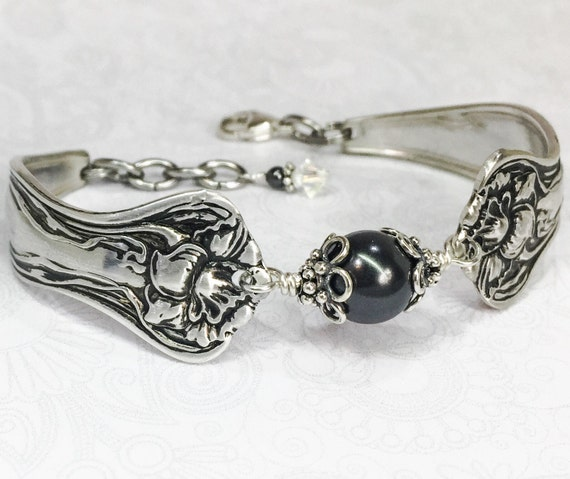 Art Nouveau Spoon Bracelet, Black Pearl, Customizable Silverware Jewelry, 'Mystic' 1903