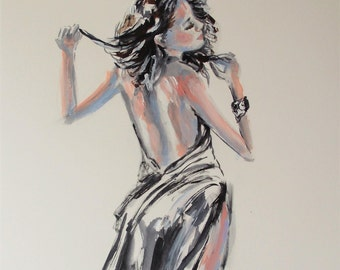 Original woman watercolor painting on paper,abstract woman painting,woman back painting,woman painting,woman art,black and white art