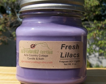 FRESH LILAC SOY Candle - Floral Soy Candles - Flower Soy Candles - Spring Candles - Spring Flowers, Scented Soy Candles, Mason Jar Candles