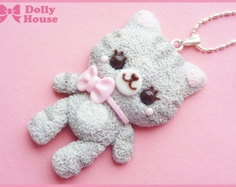 Cutie Grey Cat Necklace by Dolly House