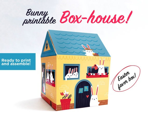 Printable Easter favor box house full of bunnies