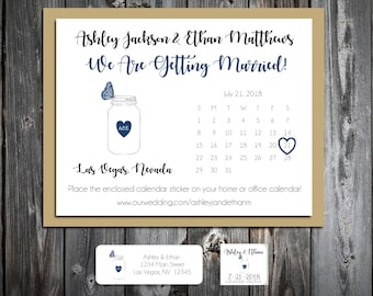 Mason Jar with Butterfly Wedding Save the Date Cards Invitations