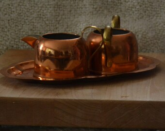 COPPER SUGAR CREAMER & Etched and Scalloped Tray.. Vintage 70s..All From Copper Craft Guild.. Both with Brass Handles..Tin Int. Perfect Cond