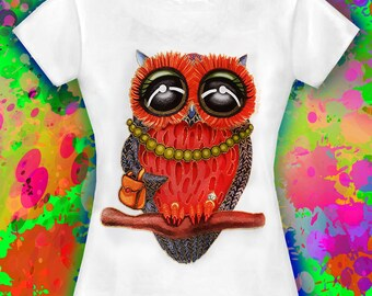 Women's owl T-Shirt printed in cotton Colourful Owl T-Shirt Owl design t-shirt Owl t-shirt Owl Tee Owl top Owls Funny owl Women's Clothing