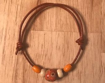 Genuine leather adjustable slip knot bracelet