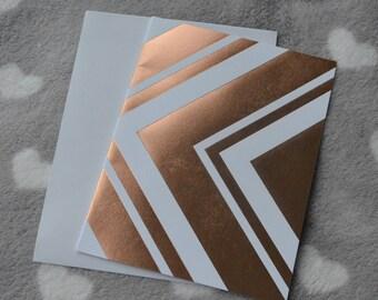 Folded card + envelope wide zigzag metallic effect