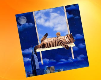 double square card with cats a bit surreal: under the sky in New York
