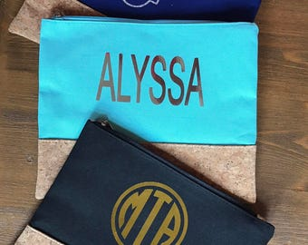 Monogrammed Canvas & Cork Zippered Bag