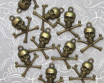 6 Skull Charms Antique  Bronze Skull and Crossbones - BC272