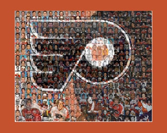 Philadelphia Flyers Mosaic Print Art Created Using the Greatest Flyers Players of all Time. Free Shipping
