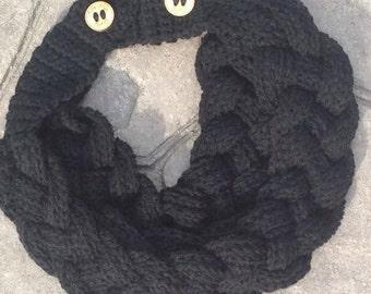 Crochet braided scarf, crochet braided cowl, handmade scarf, braided scarf, braided cowl, double braided scarf, Crafty Therapy, scarf