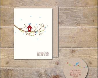 Christmas Cards, Birdhouse, Snow, Christmas Thank You Cards, Thank YoU Cards, Christmas Lights, Bird House, Handmade, Holiday Thank You