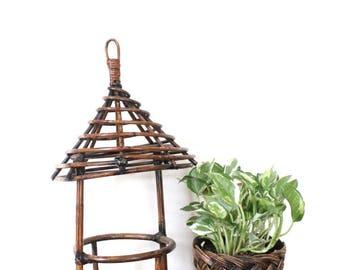 SALE Vintage Boho Rattan Hanging Planter