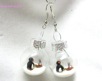 Penguin with baby on a sled earring, glass ball for winter  penguin friends fashion jewelry