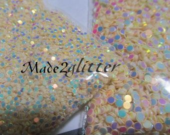 Opalescent Round Glitter dots nail art in 1mm and 2mm mixes various colors