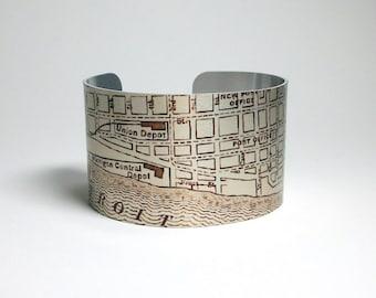 Cuff Bracelet Detroit Michigan Map Unique Gift for Men or Women