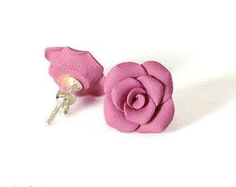 Purple Magenta Rose Earrings, Sterling Silver, Posts, Handformed Clay Roses, Flower, Floral, Gift under 30
