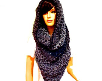Hoodie Scarf, Poncho Front, Hooded Scarf, Chunky Scarves, Oversized Scarf, Infinity Scarf, Chunky Scarf, Hippie Clothes