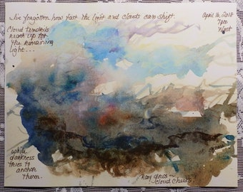 Cloud Art, cloudscape, sky art, sketchbook page, artist notes, artist sketch, cloud sketch, reproduction