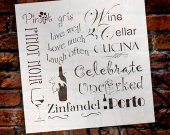 Celebrate Wine - Background Word Stencil - Select Size - STCL696 - by StudioR12