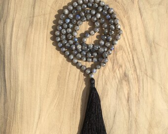 Necklace Mala 108 6 mm stones in labradorite long necklace Hindu/Buddhist for yoga and meditation