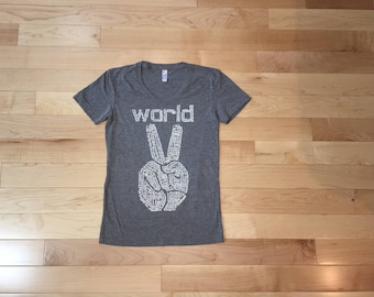 Inspirational her, Womens, graphic tee, Peace sign shirt, Mothers Day gift, wabi sabi, World Peace, girlfriend, yoga clothing, bestie